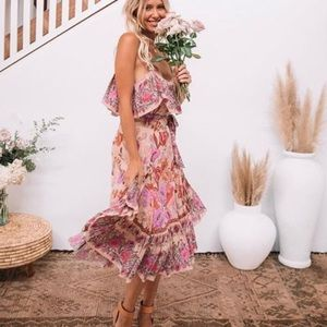 SPELL | Siren Song Strappy Flamingo Mini Dress